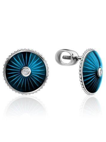 Серебряные серьги-гвоздики с эмалью и бриллиантами «Наследие», фото