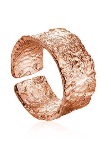 Широкое стильное кольцо из серебра c розовым золочением Liquid, Размер кольца: б/р, фото