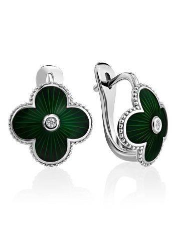 Серебряные серьги с зеленой эмалью и бриллиантами «Наследие», фото