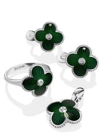 Серебряные серьги с зеленой эмалью и бриллиантами «Наследие», фото , изображение 3