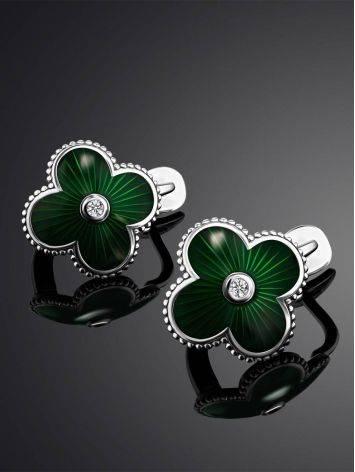 Серебряные серьги с зеленой эмалью и бриллиантами «Наследие», фото , изображение 2