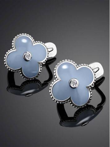 Серьги с голубой эмалью и бриллиантами в серебре «Наследие», фото , изображение 2
