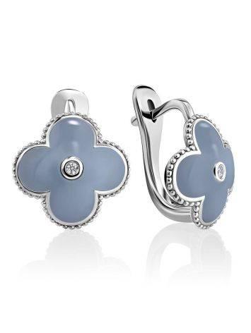 Серьги с голубой эмалью и бриллиантами в серебре «Наследие», фото