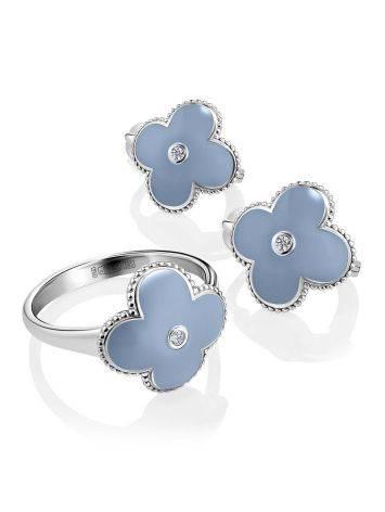 Серьги с голубой эмалью и бриллиантами в серебре «Наследие», фото , изображение 3