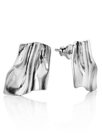 Стильные серьги-гармошка в серебре Liquid, фото