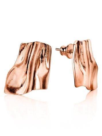 Стильные серьги-гармошка из серебра в розовом золочении Liquid, фото