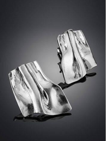 Стильные серьги-гармошка в серебре Liquid, фото , изображение 2