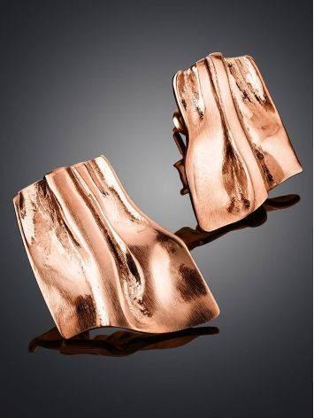 Стильные серьги-гармошка из серебра в розовом золочении Liquid, фото , изображение 2