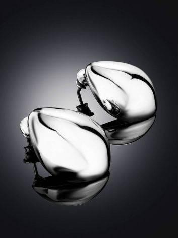 Эффектные объемные серьги- капли в серебре Liquid, фото , изображение 2