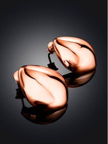 Объемные серьги из серебра в розовом золочении Liquid, фото , изображение 2