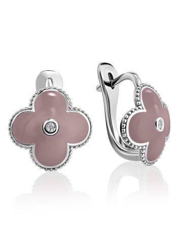 Серебряные серьги-четырехлистники с эмалью и бриллиантами «Наследие», фото