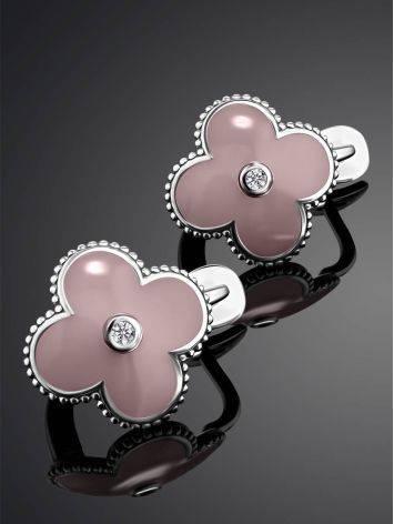Серебряные серьги-четырехлистники с эмалью и бриллиантами «Наследие», фото , изображение 2