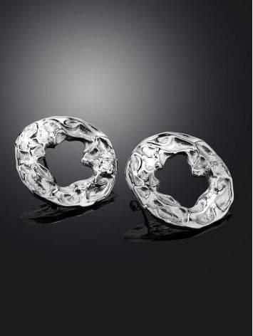 Эффектные серьги из фактурного серебра Liquid, фото , изображение 2