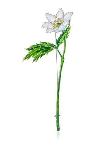 Крупная серебряная брошь в форме цветка с эмалью «Ветреница», фото