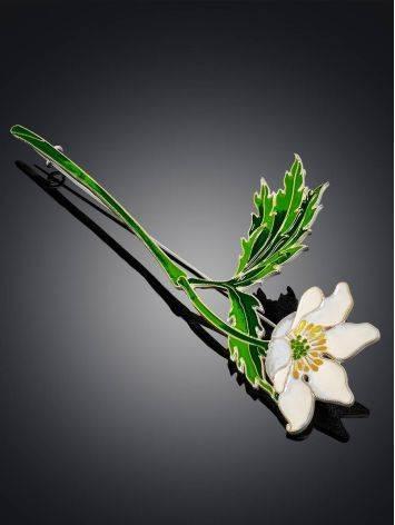 Крупная серебряная брошь в форме цветка с эмалью «Ветреница», фото , изображение 2