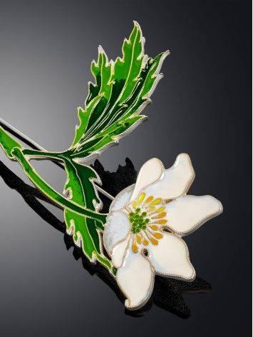 Крупная серебряная брошь в форме цветка с эмалью «Ветреница», фото , изображение 3