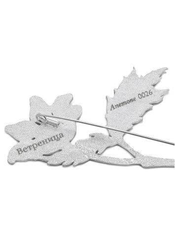 Крупная серебряная брошь в форме цветка с эмалью «Ветреница», фото , изображение 4