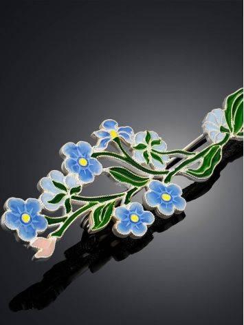 Крупная брошь с разноцветной эмалью «Незабудка», фото , изображение 3