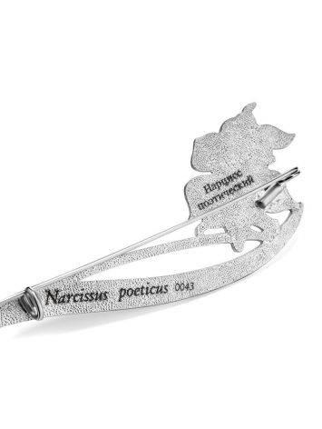 Крупная серебряная брошь с эмалью «Нарцисс», фото , изображение 4