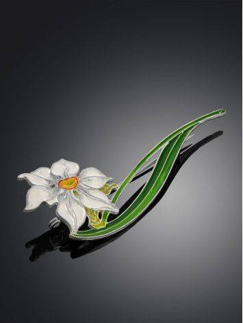 Крупная серебряная брошь с эмалью «Нарцисс», фото , изображение 2