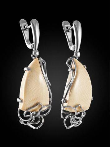 Нежные серьги из серебра с костью мамонта «Эра», фото , изображение 3