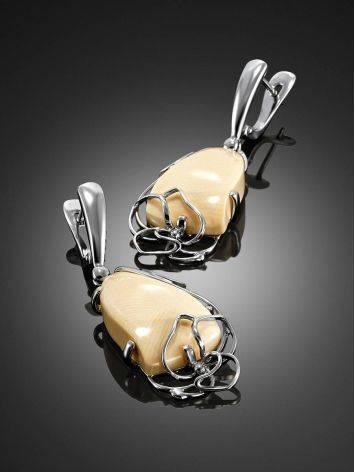 Нежные серьги из серебра с костью мамонта «Эра», фото , изображение 2