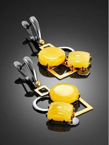 Оригинальные серьги из золоченного серебра с медовым янтарём «Пикассо», фото , изображение 2