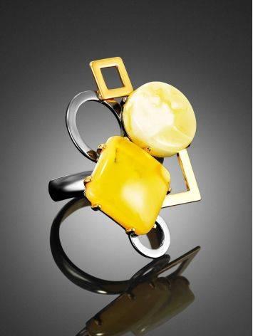 Кольцо в оригинальном дизайне из позолоченного серебра и натурального янтаря «Пикассо» б/р, Размер кольца: б/р, фото , изображение 2