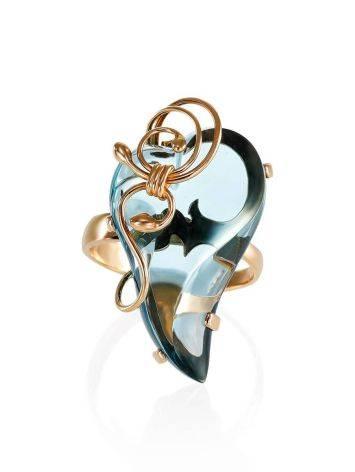 Роскошное золотое кольцо «Серенада» с топазом Скай б/р, Размер кольца: б/р, фото , изображение 3