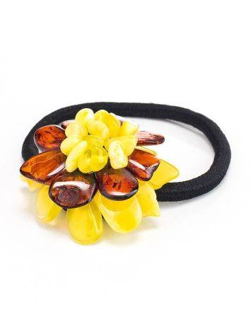 Резинка для волос, украшенная ярким янтарным цветком, фото , изображение 3