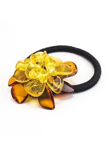 Красивая резинка для волос с цветочком из натурального балтийского янтаря, фото , изображение 3