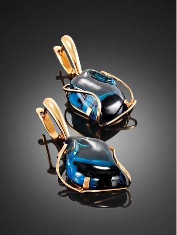 Роскошные золотые серьги со вставками из топаза Лондон «Серенада», фото , изображение 2