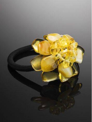 Резинка для волос с декоративным цветком из натурального балтийского янтаря, фото , изображение 2