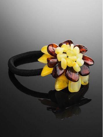 Резинка для волос, украшенная ярким янтарным цветком, фото , изображение 2