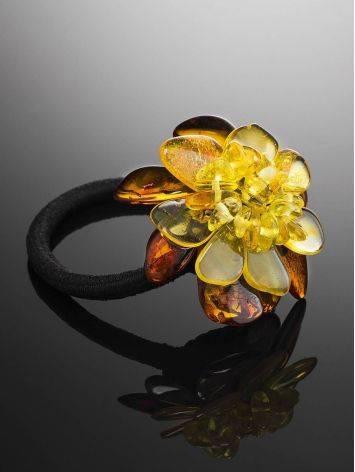Красивая резинка для волос с цветочком из натурального балтийского янтаря, фото , изображение 2