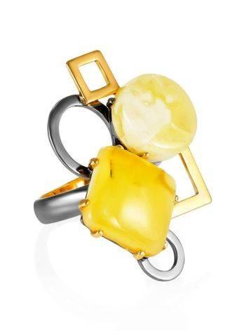 Кольцо в оригинальном дизайне из позолоченного серебра и натурального янтаря «Пикассо» б/р, Размер кольца: б/р, фото