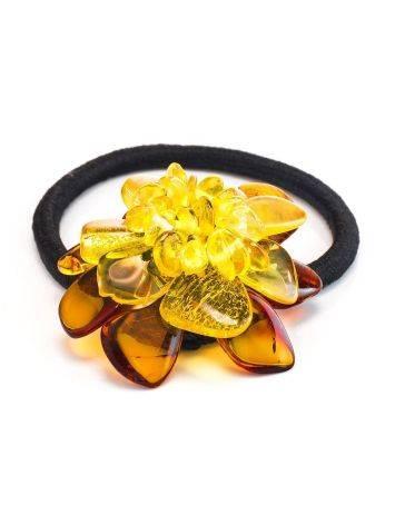 Красивая резинка для волос с цветочком из натурального балтийского янтаря, фото