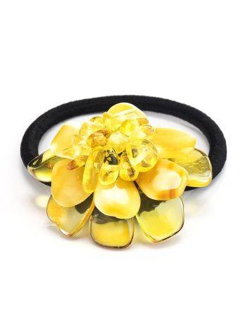 Резинка для волос с декоративным цветком из натурального балтийского янтаря, фото