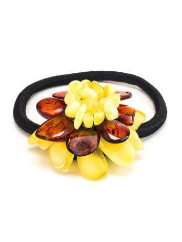 Резинка для волос, украшенная ярким янтарным цветком, фото