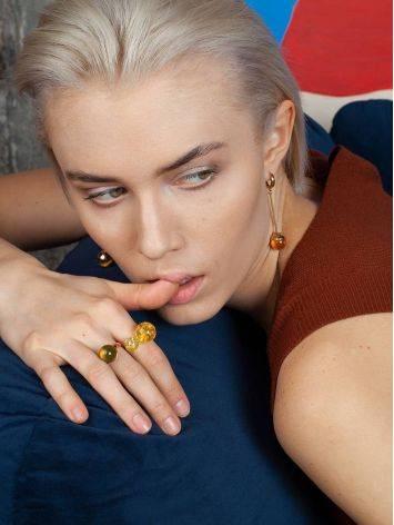 Стильное кольцо с натуральным балтийским янтарём лимонного цвета «Париж» б/р, Размер кольца: б/р, фото , изображение 6