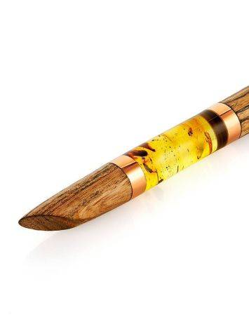 Уникальная ручка из дерева и натурального цельного балтийского янтаря с включениями, фото , изображение 3