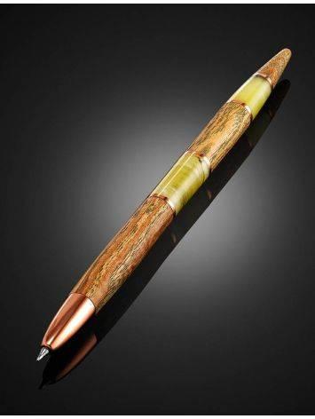 Ручка авторской работы из дерева и балтийского янтаря, фото , изображение 2