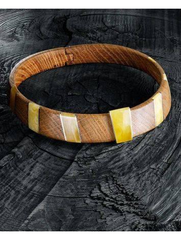 Необычный жесткий чокер из дерева с янтарём и серебром «Индонезия», фото , изображение 2