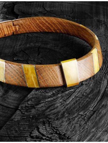 Необычный жесткий чокер из дерева с янтарём и серебром «Индонезия», фото , изображение 4
