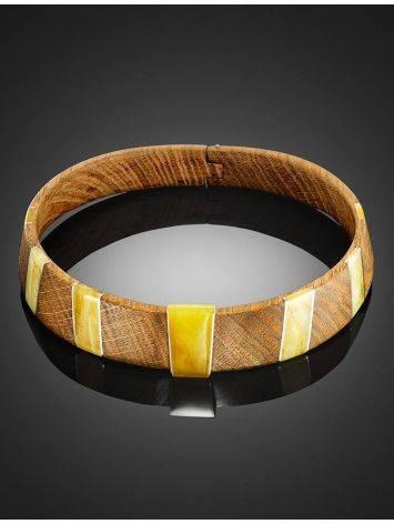 Необычный жесткий чокер из дерева с янтарём и серебром «Индонезия», фото , изображение 8