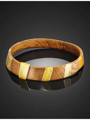 Необычный жесткий чокер из дерева с янтарём и серебром «Индонезия», фото , изображение 7