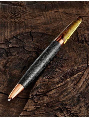 Ручка из дерева и натурального цельного янтаря красивого лимонного цвета, фото , изображение 3