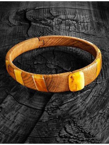 Стильное колье-кольцо из дерева с янтарём и серебром «Индонезия» на магнитном замке, фото , изображение 6