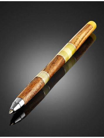 Ручка из дерева и натурального балтийского янтаря медового цвета, фото , изображение 2