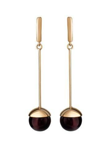 Необычные серьги из тёмно-вишнёвого янтаря и серебра с позолотой «Париж», фото , изображение 4